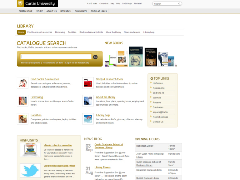 Curtin University of Technology. LIBRARY. CATALOGUE SEARCH
